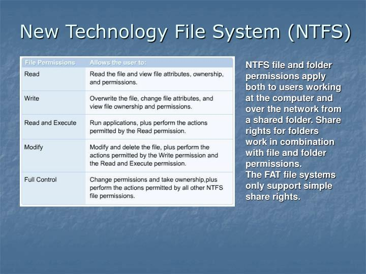 NTFS file and folder permissions apply both to users working at the computer and over the network from a shared folder. Share rights for folders work in combination with file and folder permissions.