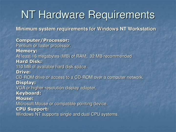 NT Hardware Requirements