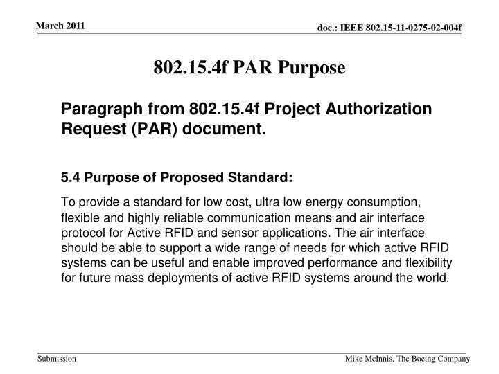 802.15.4f PAR Purpose