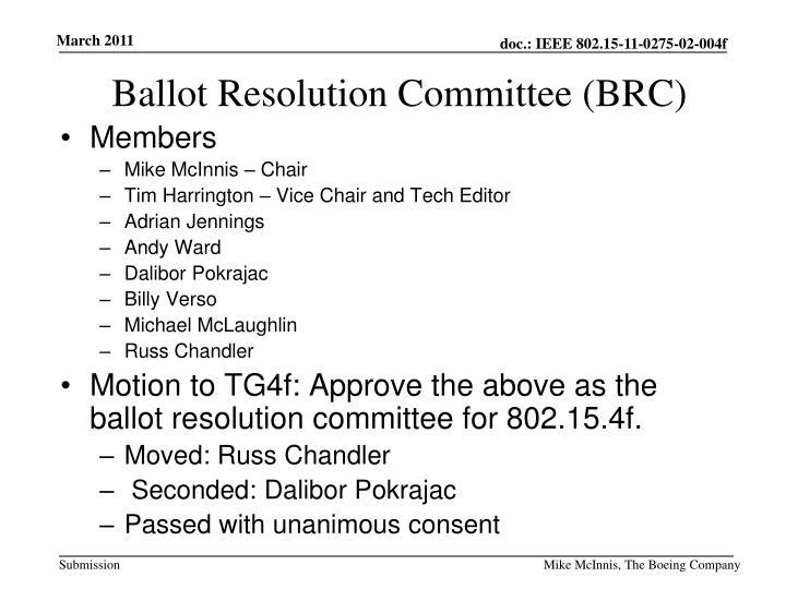 Ballot Resolution Committee (BRC)