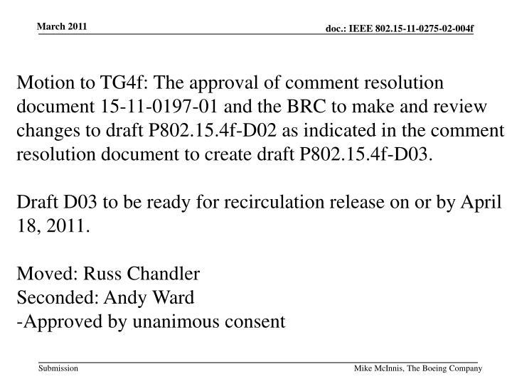 Motion to TG4f: The approval of comment resolution document