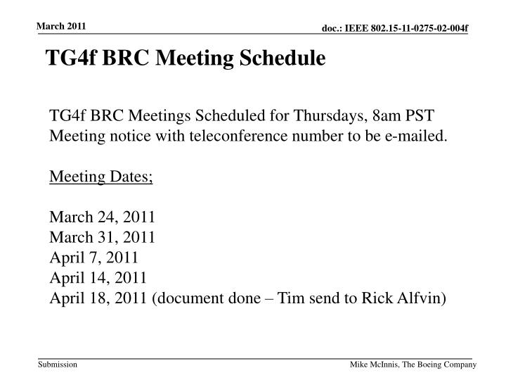 TG4f BRC Meeting Schedule