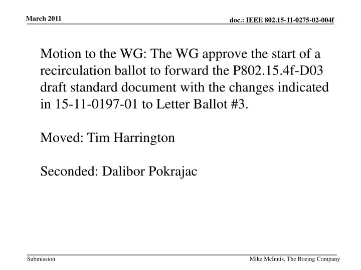 Motion to the WG:
