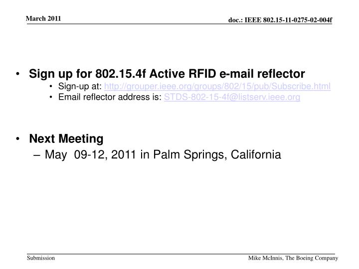 Sign up for 802.15.4f Active RFID e-mail reflector