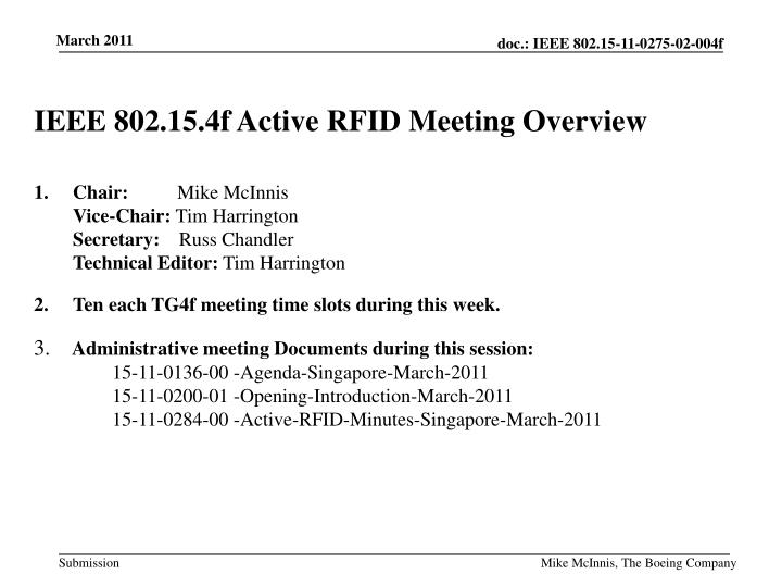 IEEE 802.15.4f Active RFID Meeting Overview