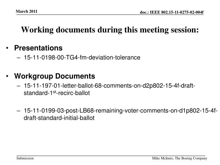 Working documents during this meeting session: