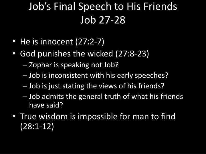 Job's Final Speech to His Friends