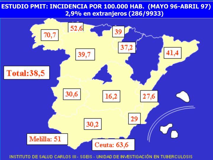 ESTUDIO PMIT: INCIDENCIA POR 100.000 HAB.  (MAYO 96-ABRIL 97)