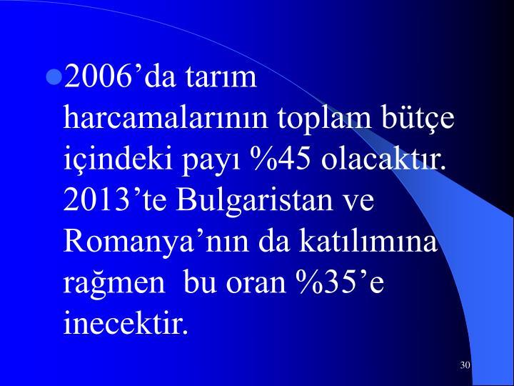 2006'da tarım harcamalarının toplam bütçe içindeki payı %45 olacaktır. 2013'te Bulgaristan ve Romanya'nın da katılımına rağmen  bu oran %35'e inecektir.