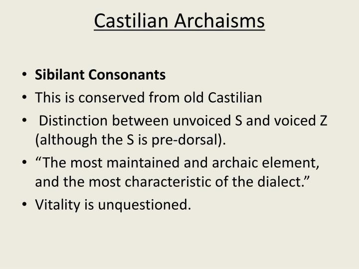 Castilian Archaisms