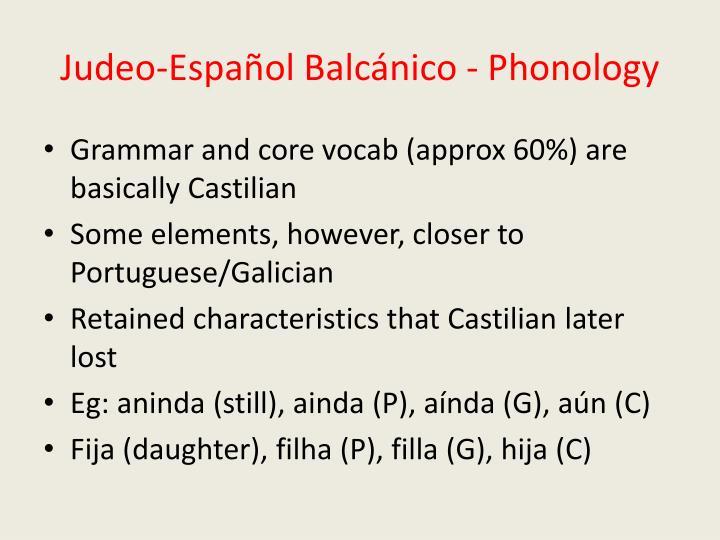 Judeo-Español Balcánico - Phonology
