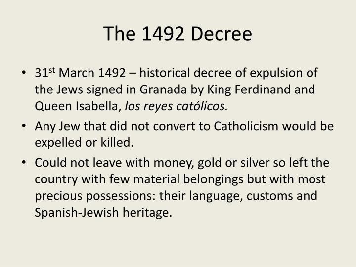 The 1492 Decree
