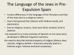 the language of the jews in pre expulsion spain
