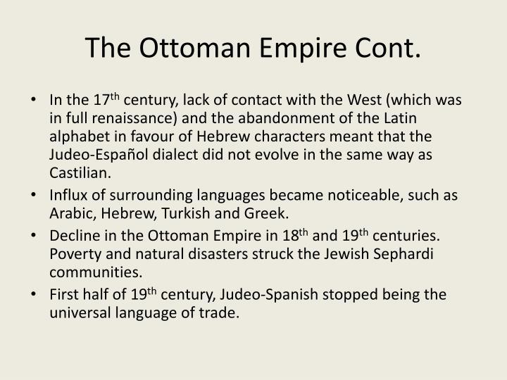 The Ottoman Empire Cont.