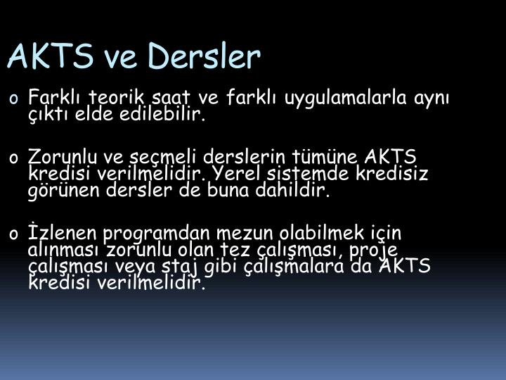 AKTS ve Dersler