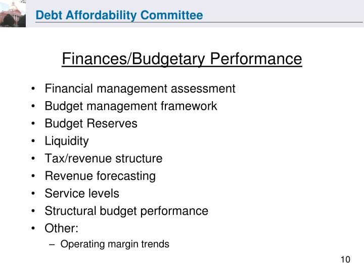 Finances/Budgetary Performance