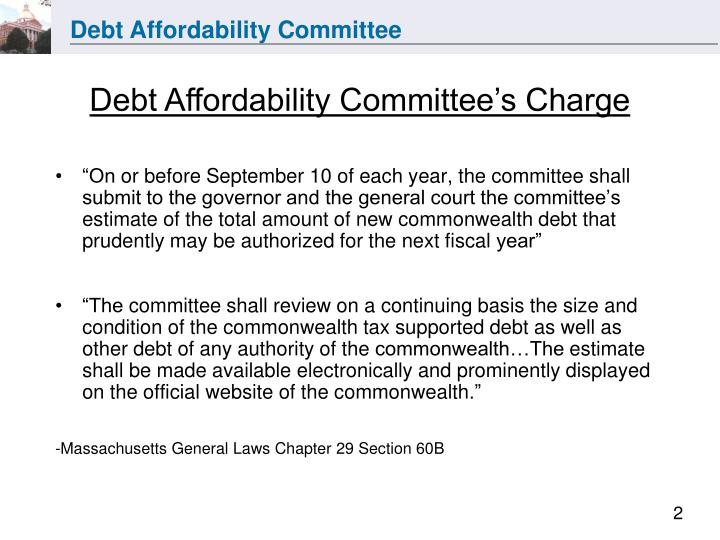 Debt Affordability Committee's Charge