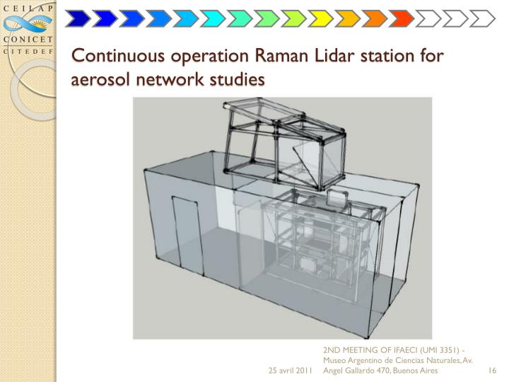 Continuous operation Raman Lidar station for aerosol network studies