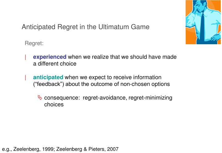 Anticipated Regret in the Ultimatum Game
