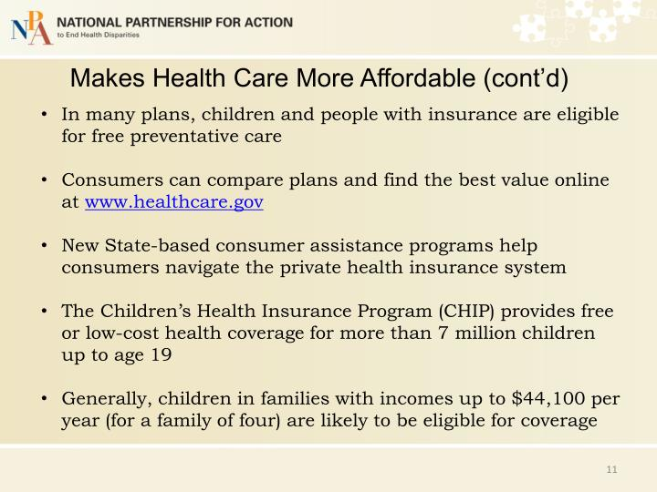 Makes Health Care More Affordable (cont'd)