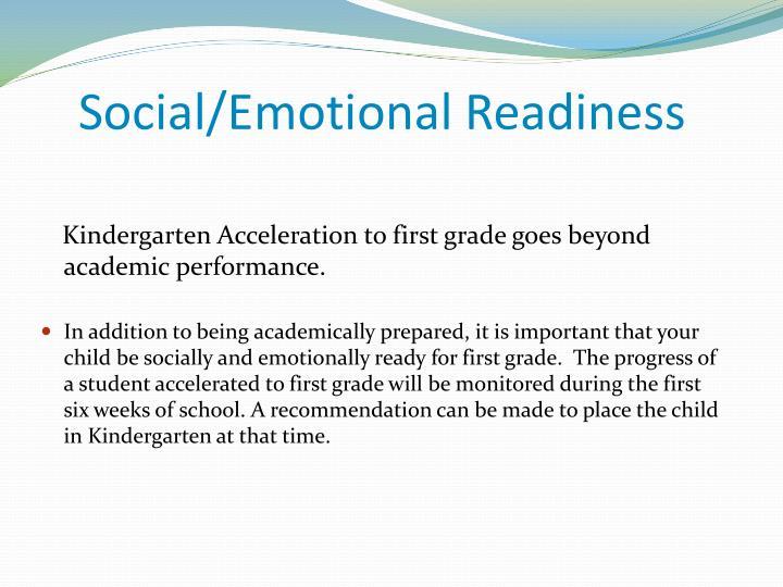 Social/Emotional Readiness