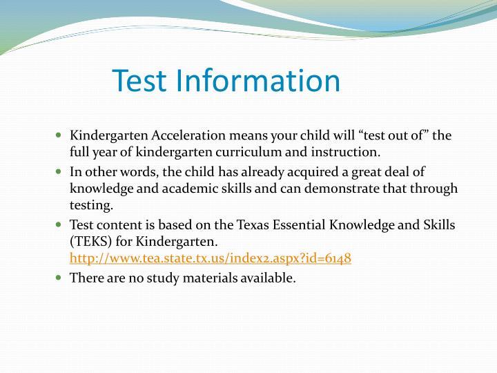 Test Information