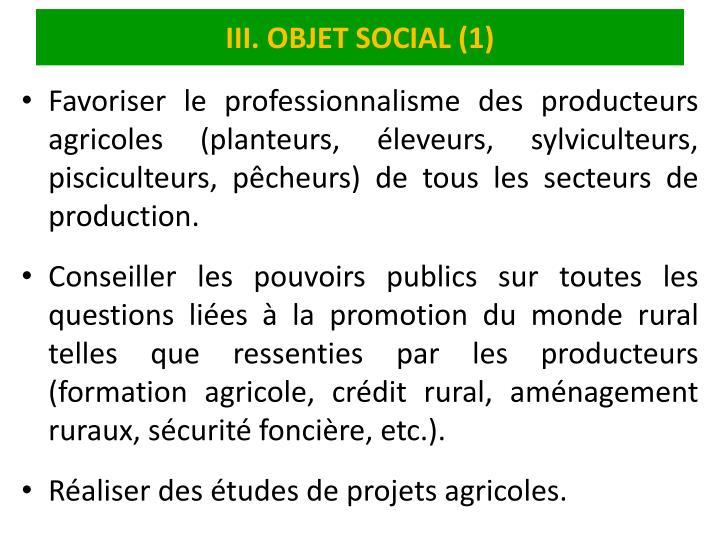 III. OBJET SOCIAL (1)