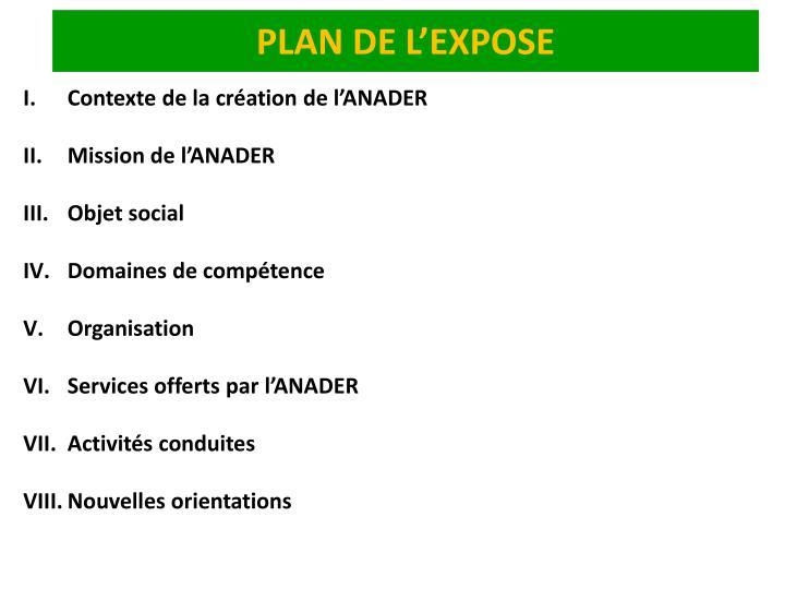 PLAN DE L'EXPOSE