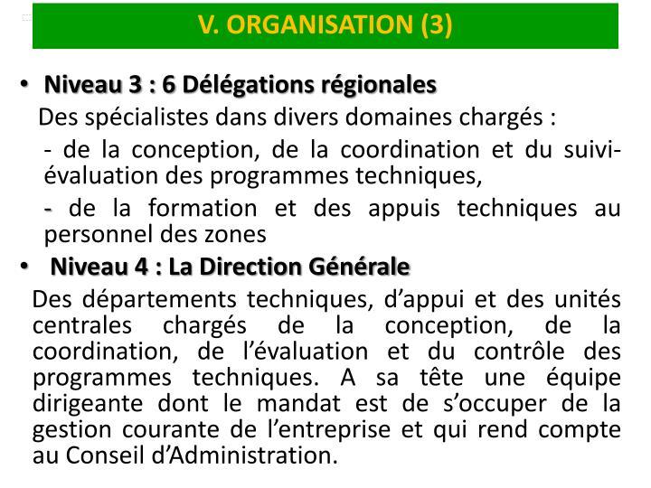 V. ORGANISATION (3)