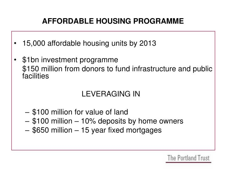 AFFORDABLE HOUSING PROGRAMME