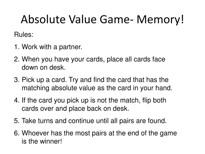 Absolute Value Game- Memory!