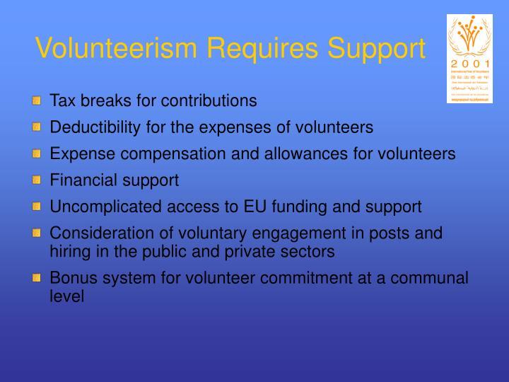 Volunteerism Requires Support