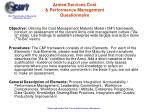 armed services cost performance management questionnaire
