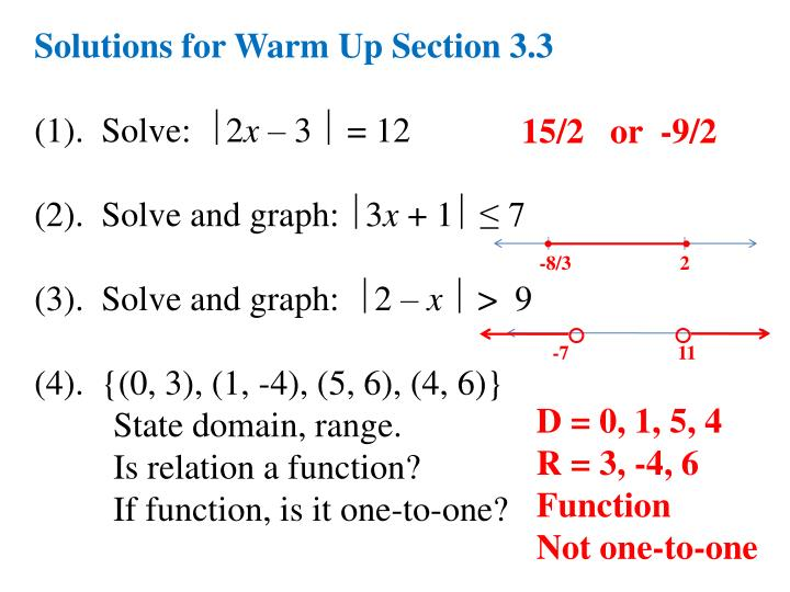 Solutions for Warm Up Section 3.3