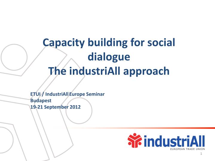 Capacity building for social dialogue