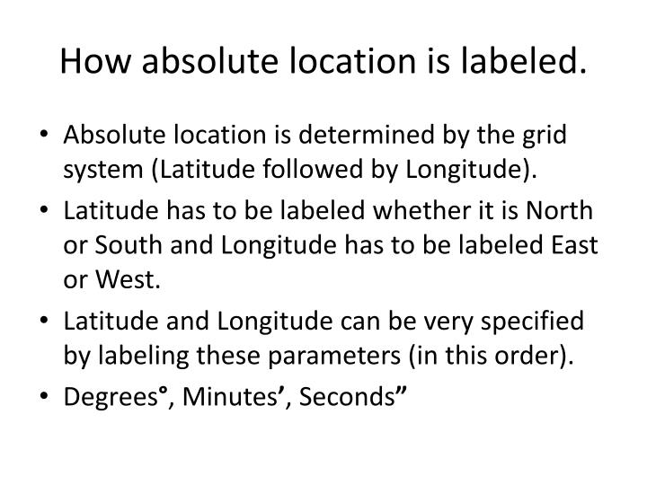 How absolute location is labeled.