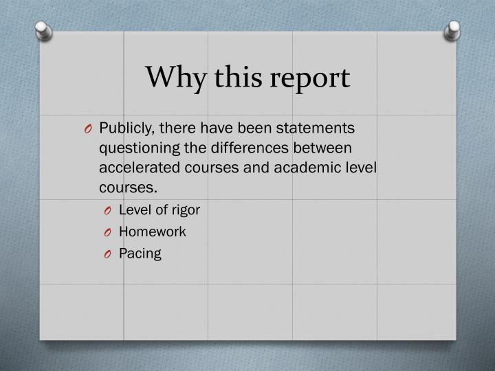 Why this report