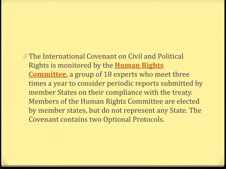 The International Covenant on Civil and Political Rights is monitored by the