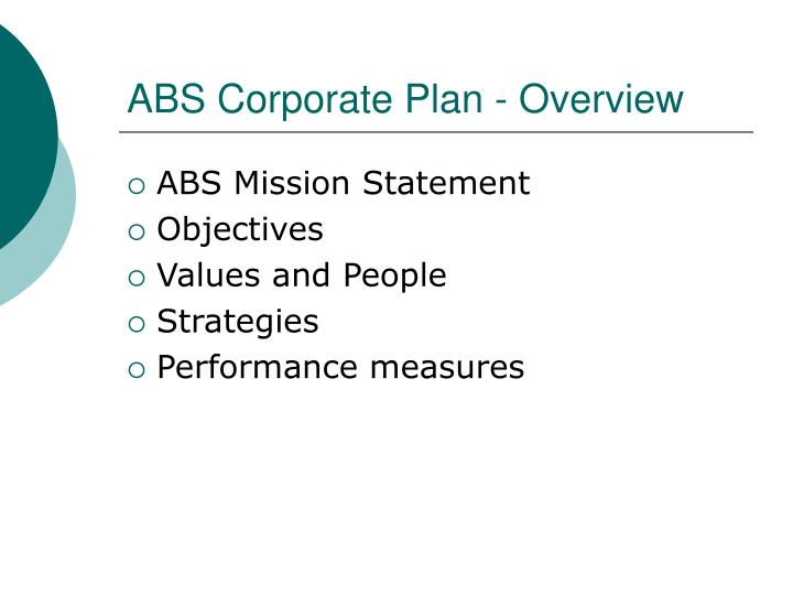 ABS Corporate Plan - Overview
