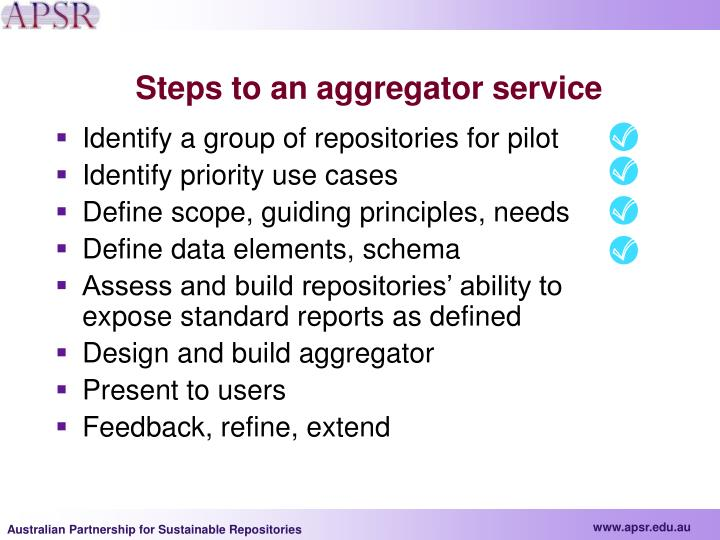 Steps to an aggregator service