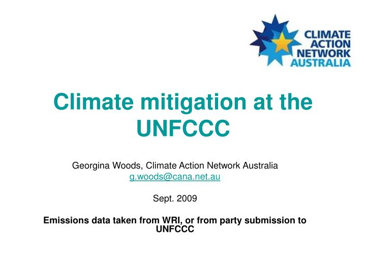 Climate mitigation at the unfccc