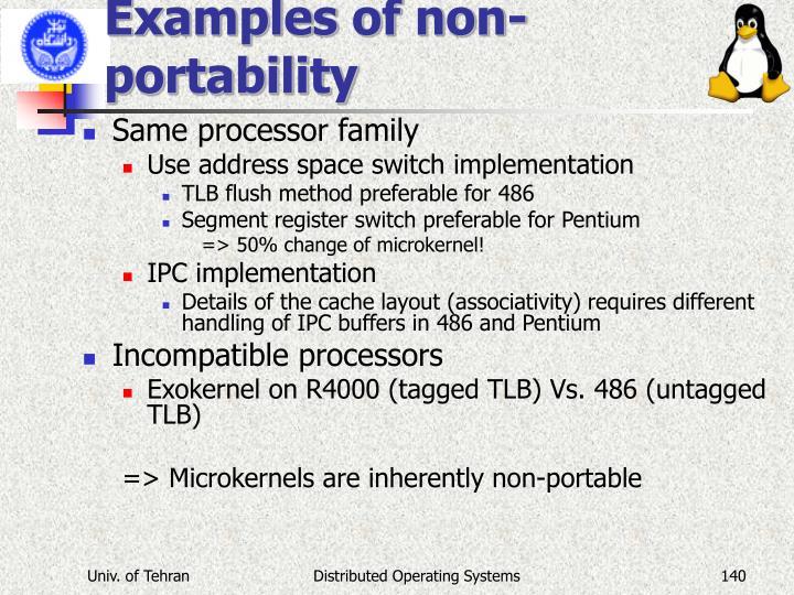 Examples of non-portability