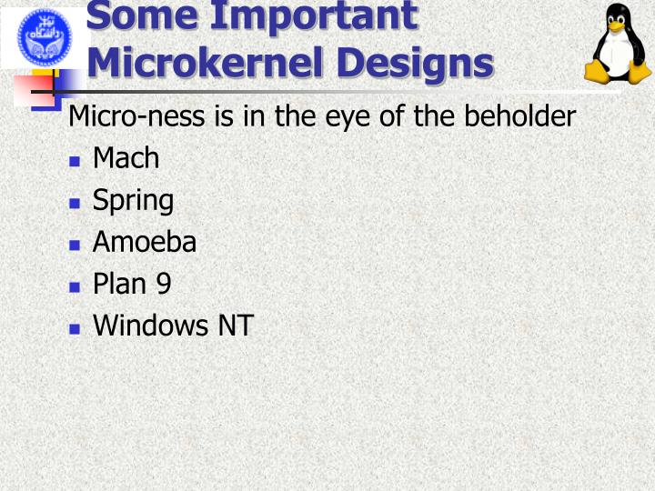 Some Important Microkernel Designs