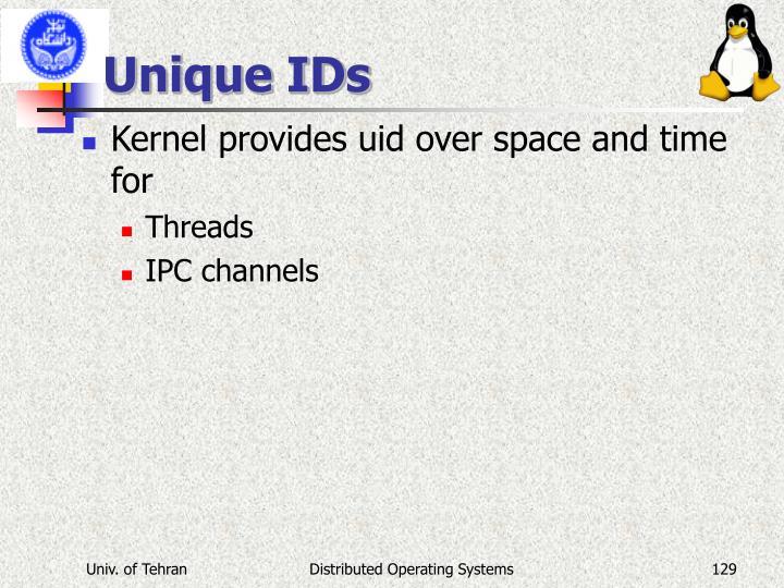 Unique IDs