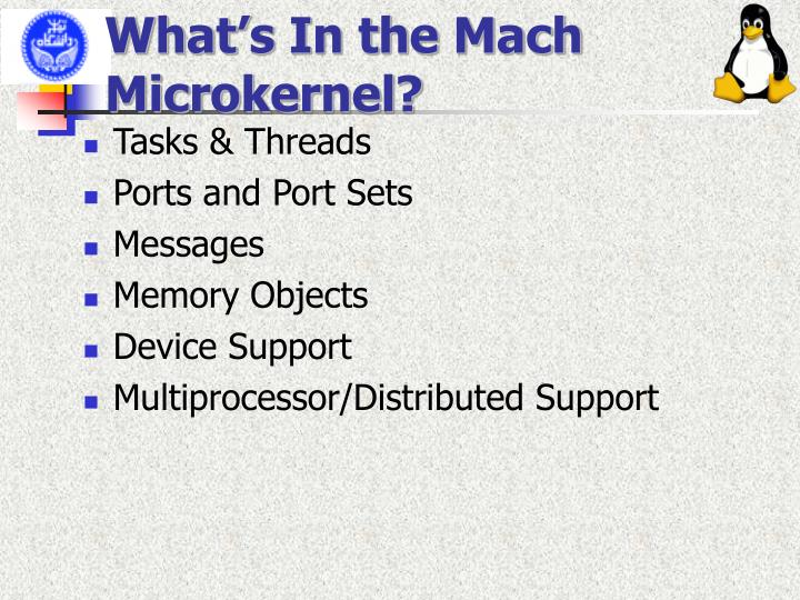 What's In the Mach Microkernel?