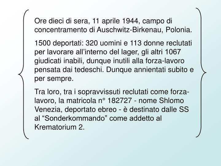 Ore dieci di sera, 11 aprile 1944, campo di concentramento di Auschwitz-Birkenau, Polonia.