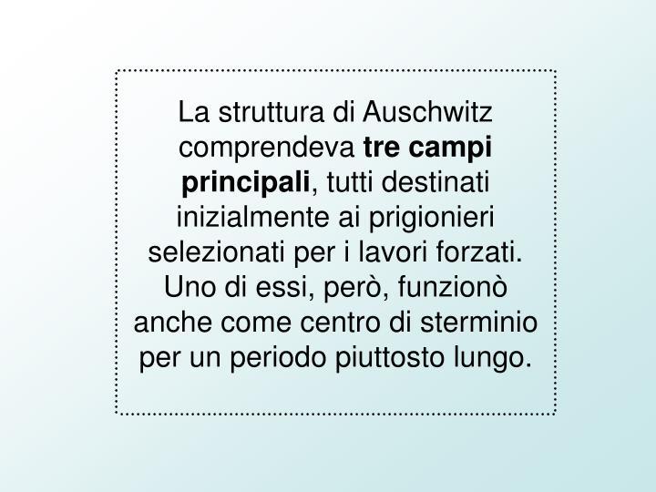 La struttura di Auschwitz comprendeva
