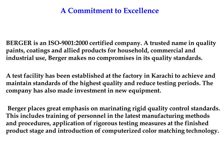 A Commitment to Excellence