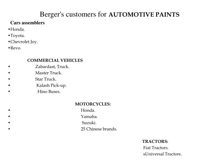 Berger's customers for