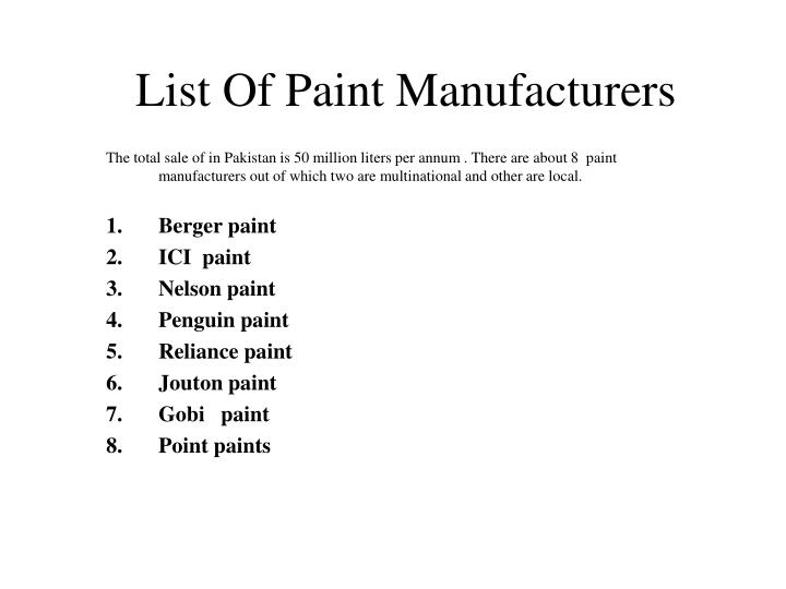 List Of Paint Manufacturers